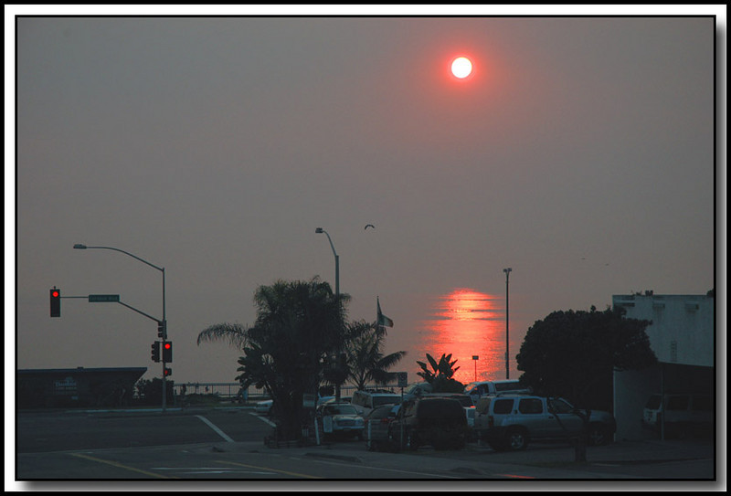 10-25-07, A billion dollar sunset! Southern Californias fires created heavy smoke causing surreal sunsets. Taken at Tamarack Beach.