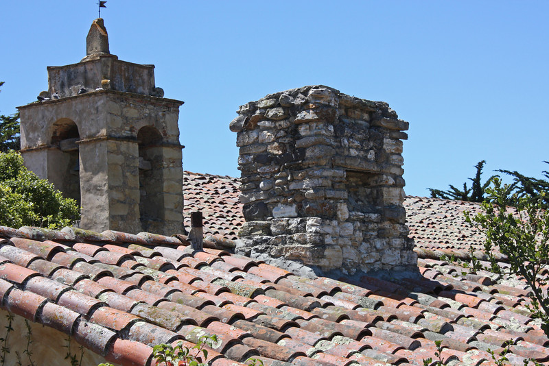 Tower and chimney on outbuilding - Carmel Mission