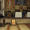 Under the center white slab on the floor at the foot of the altar is the burial place of father Junipero Serra himself.