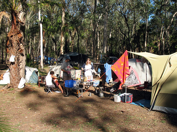 Visitors Centre Campsite and the start of a teatowel whipping war.