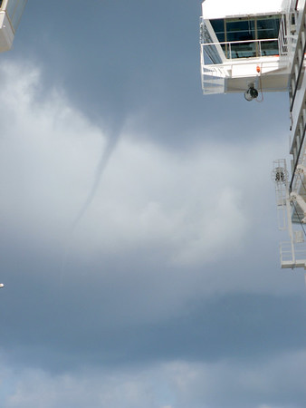 As we were returning to our ship in Costa Maya, we encountered a little funnel cloud.