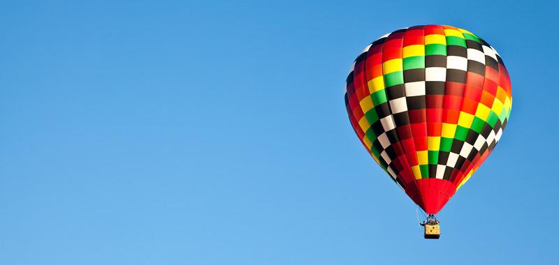Hot air balloons fill the sky during the Carolina Balloon Festival, Statesville, North Carolina.