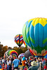 Hot Air Balloons fill the sky as they race to inflate then fly to the designated spot. Carolina Balloon Festival, Statesville, North Carolina.