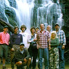 Waterfall Seekers in front of King Creek Falls SC <br /> L-R KT, Jay, Ian, Cathy, Hal, Harry, Kevin, Dana, Kenny, squatting in front--Waterfall Rich Stevenson