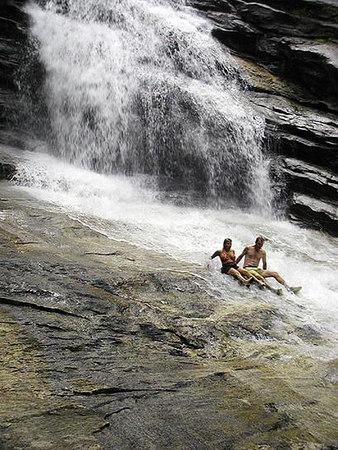 Whee!!! Dana and Harry Slide Down Big Falls<br /> Thompson River Gorge, NC