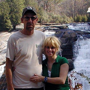 Kenny and Dana in front of High Falls  at DuPont State Forest NC