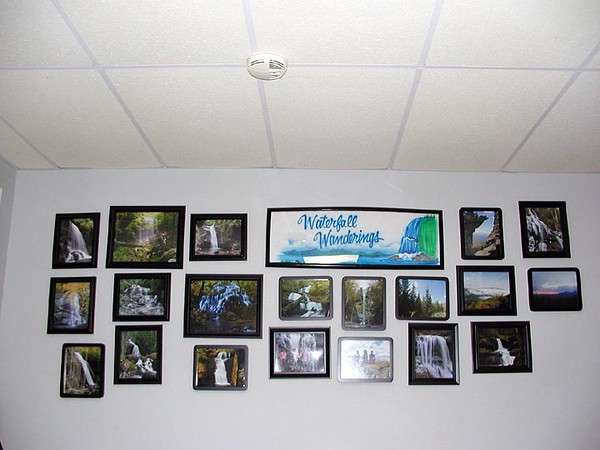 Wall in the computer room with all kinds of waterfall and hiking pix taken by me, Rich, Kenny, Dan.....<br /> Lower Bear Wallow Falls (Far upper left) was the only waterfall pictured on that wall that I had not visited. I made that right on Sat. Nov. 10th! We celebrated our 23rd wedding anniversary with a hike to see this beauty!