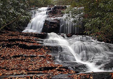 Merry Falls NC<br /> Roadside waterfall near Cascade Lake Campground
