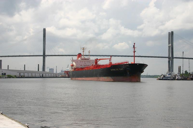 Oil tanker maneuvering up the Savannah River.
