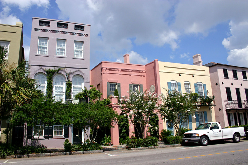 Rainbow Row in Old Charleston, South Carolina.  So named because the different buildings were originally (& are kept so today) painted in these pastel colors.  Each different color used to depict the type of business that was there.