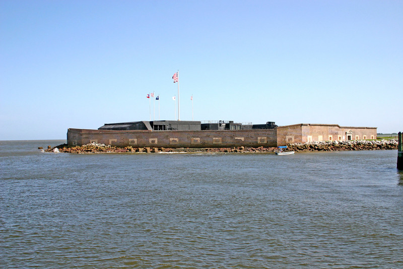 Historic Fort Sumter sits in the middle of Charleston Harbor.  They have a big tourboat that shuttles you out there from Patriots Point.