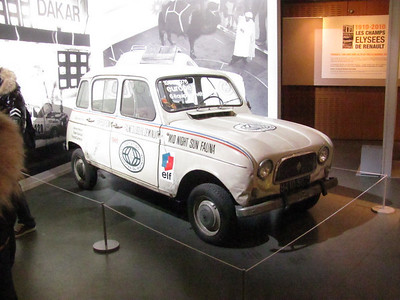Air cooled Renault mini car that drove to the arctic circle and back on an expedition.  Very very cool.  Rear engine.