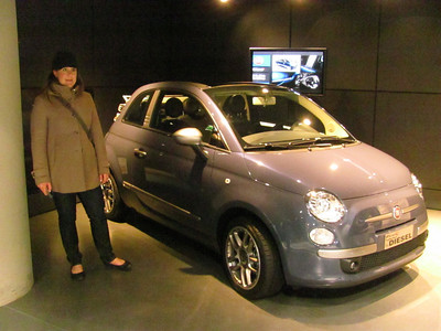 Fiat 500 - the new version.  Coming to the states shortly, except not in this turbo diesel version that probably get 60 mpg, or maybe more...