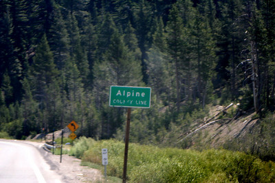 7/9/07 Crossing Alpine County Line from Amador County.  Heading east on Hwy 88 (Carson Pass Rd) from Silver Lake to Caples Lake. El Dorado National Forest, Central Sierras, Amador County, CA