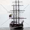Sailing ship approaches the harbor in Cartagena, Colombia.