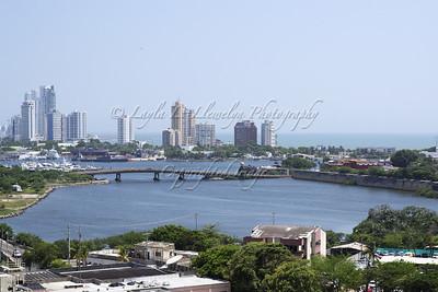Roman Bridge, Old City of Cartagena juxtaposed against the skyscrapers.