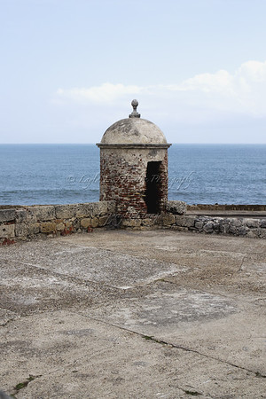 Look out on the wall of the old city of Cartagena