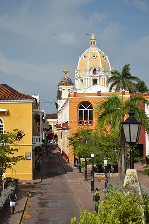 A street in the walled city of Cartagena