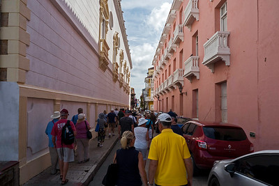 """Street in """"old town"""" Cartagena leading off plaza"""