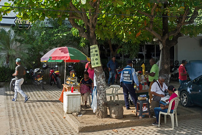 A busy plaza in Cartagena