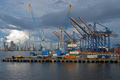 Cartegena's ship terminal cranes and skyscrapers