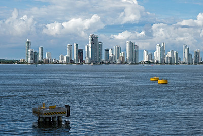 Cartagena's tall buidings viewed from the sea