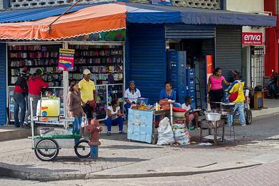 Busy street corner in Cartagena