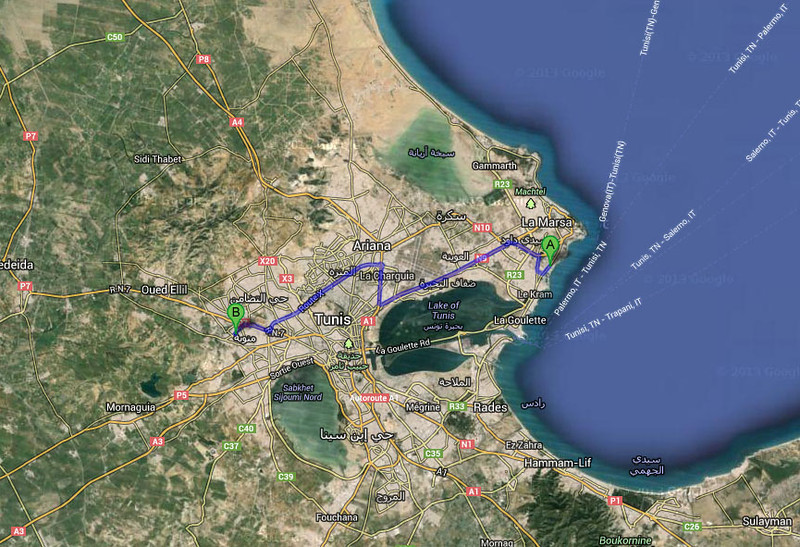 Map showing where Carthage (A) and the Kobbet Ennhas Palace (B) are located relative to the center of Tunis.  The conference organizers arranged for bus transportation to both places from the conference hotel.