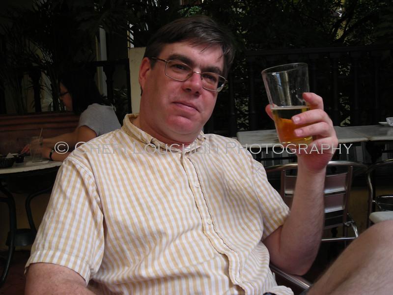 Bill Spain and his beer at El Picoteo Bar de Tapas in Old San Juan