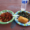 Chili and rice, cornbread, and broccoli salad