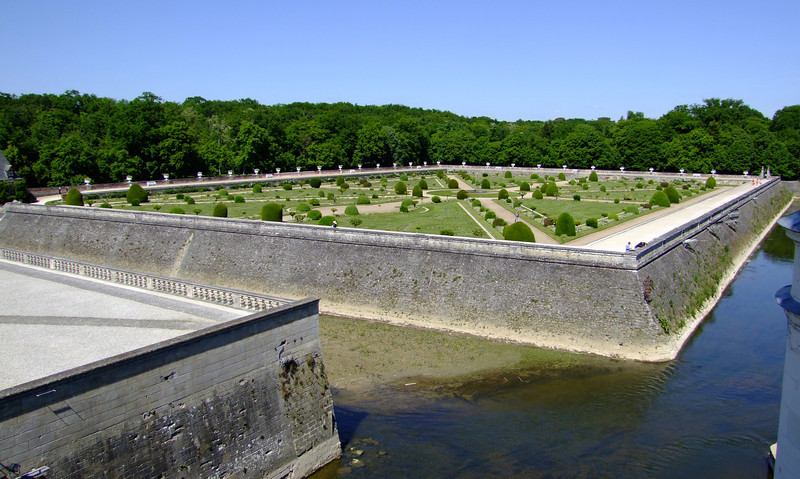 The gardens surrounded by moats.