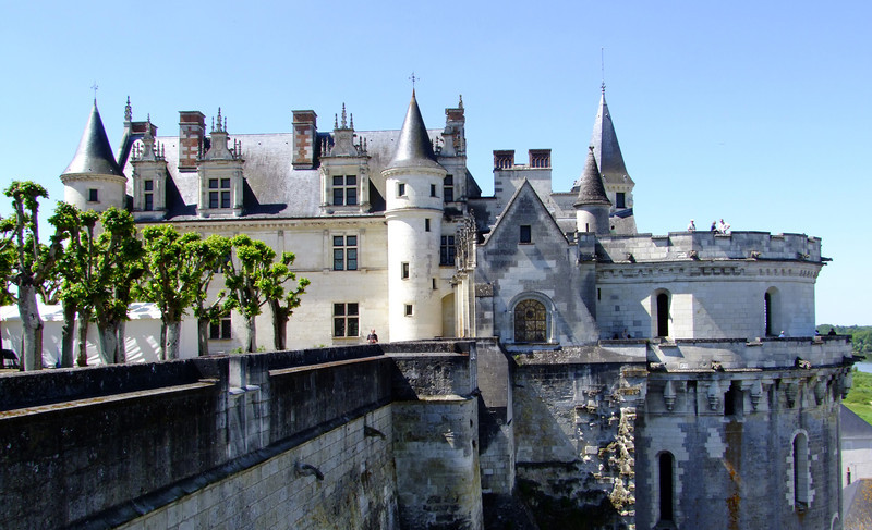 Amboise Castle on the Loire River.  It is an imposing fortress with steep walls down to the river.