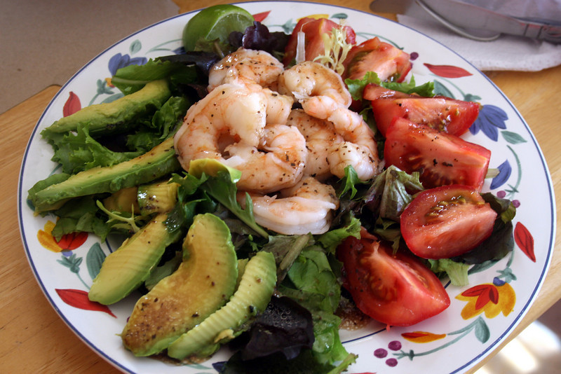 A healthy shrimp salad dinner at home after too many meals out