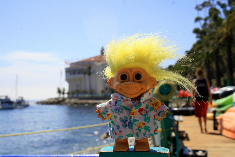 Spike just outside Descanso Beach with a view of the Casino behind him. Note the festive Hawaiian shirt he is wearing.