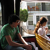 Alex and Alicia on the trolley heading to the Wrigley Memorial.