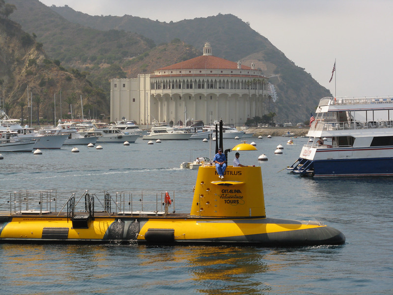 Glass bottom submarine heading out.