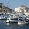 The Casino Ballroom and the marina in the Catalina Island off the coast of Southern California.