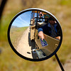 Sideview mirror of the Mercedes Unimog that drove us around during our Inland Tour that took all sorts of back roads across the interior of the island.
