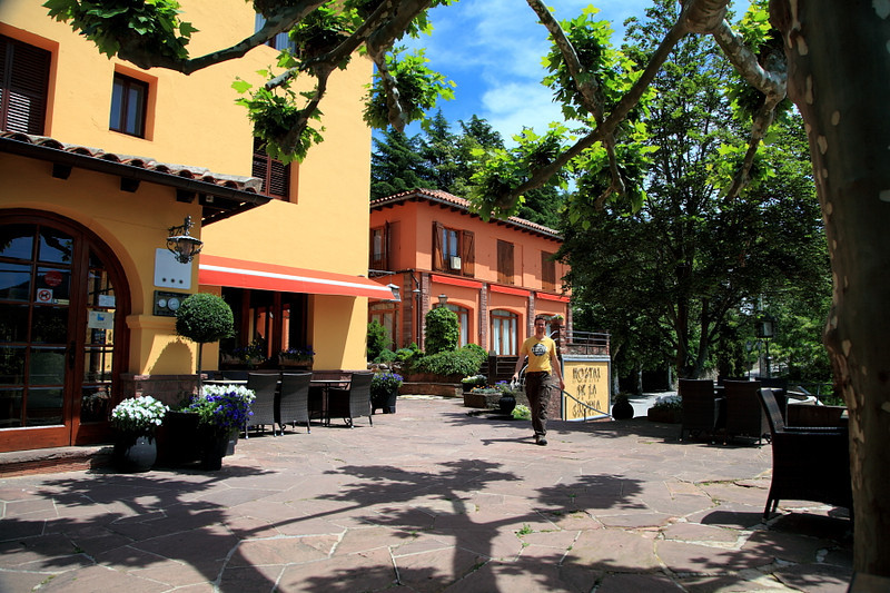Veranda of the Hostal de la Gloria, Viladrau, Spain