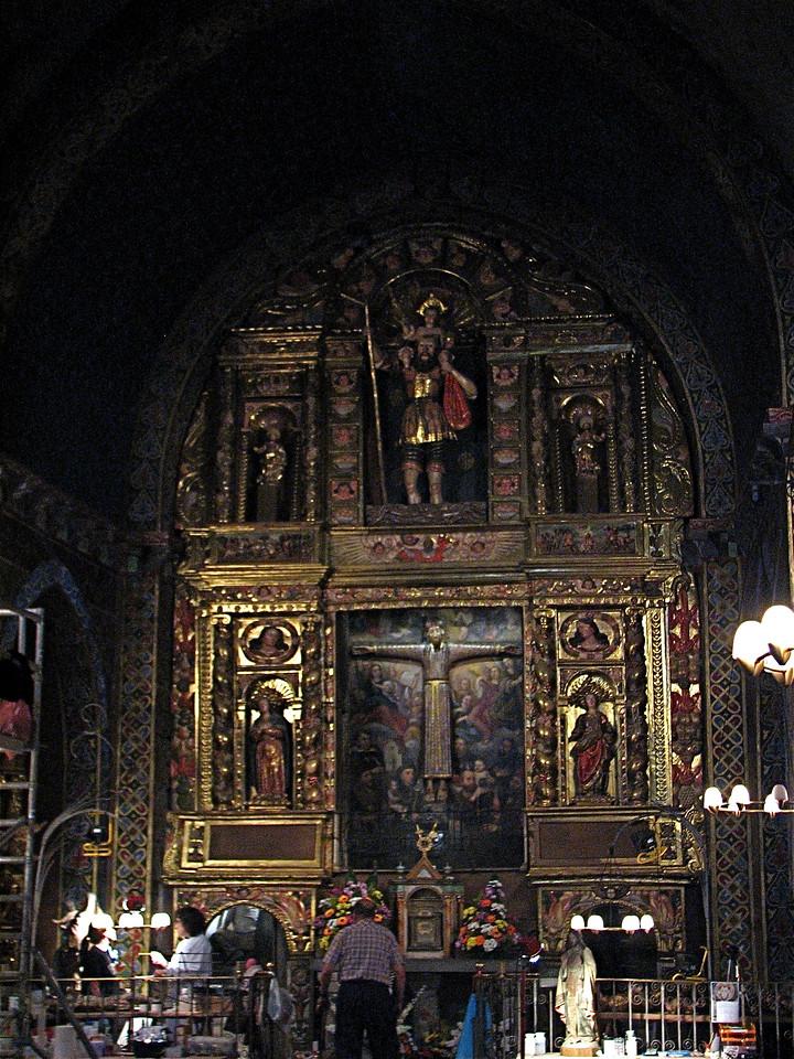 Restoration of a medieval romanesque church in Plaça de Beget, Alta Garrotxa, Catalonia, Spain.