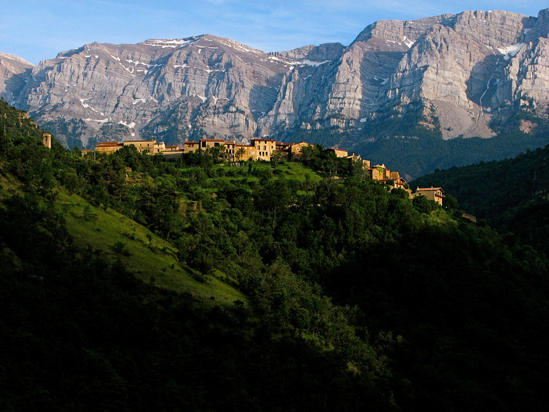 Looking south upon the town of Arseguel, with the Cadi mountains in the background. Catalonia, Spain.