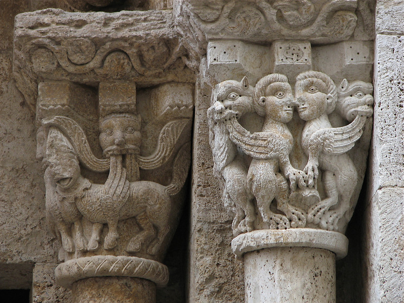 Detail at the top of columns, medieval architecture, Besalu, Catalonia, Spain