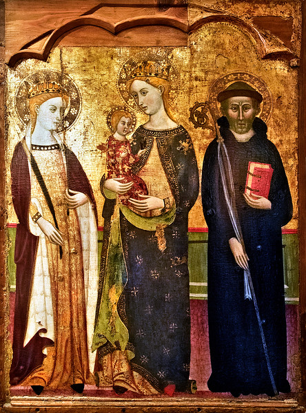 Santa Olivia, the Virgin and child, and St. Benedict, a painting by Master of Rubio (mid-late 14th century).