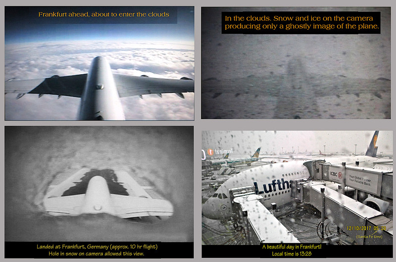 The plane had several external cameras. They allowed for live in-flight viewing that could be accessed on the TV screen at your seat. The first three views are from the camera high on the tail.
