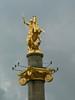 St. George, Georgia's patron saint, killing the dragon high above Freedom Square, where Lenin's statue once stood