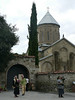 Waiting for the bride and groom outside Samtavro church, built in the 1130s