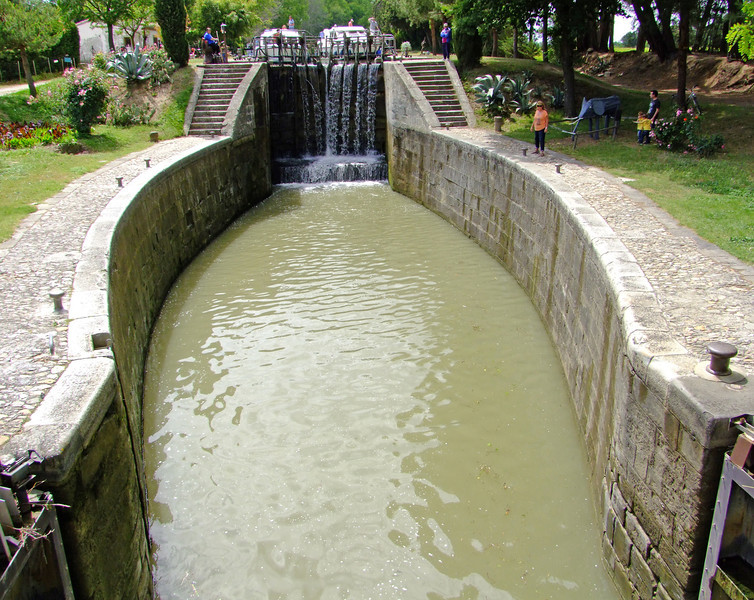 A lock on the Canal des Deux Mers (canal connecting the Atlantic and Mediterranean - by King Louis XIV - from the 1600's)