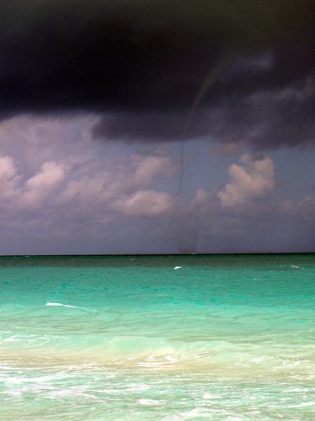 A waterspout at this point approx. 500 meters off the beach.