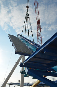 November 2012: Workers construct the 170-foot lift hill of GateKeeper, Cedar Point's first wing coaster.