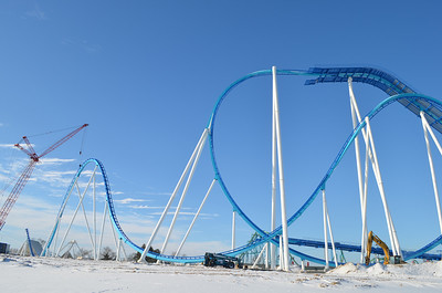 January 2, 2013: Workers continue to make progress on GateKeeper, Cedar Point's new wing coaster.